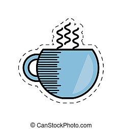 copo, café, bebida, quentes, caricatura