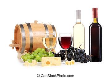 copo., composição, garrafa, vinho