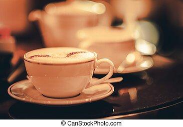 copo, de, cappuccino, café