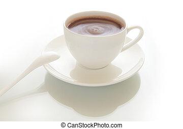 copo, de, chocolate quente, bebida, com, experiência cinza