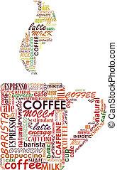 copo, de, coffe, com, etiquetas, nuvem