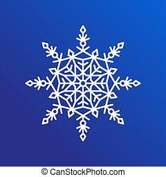 copo de nieve, solo, icono, en, azul, vector, ilustración