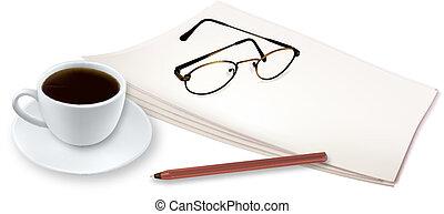 copo, de, perfumado, café, ligado, um papel