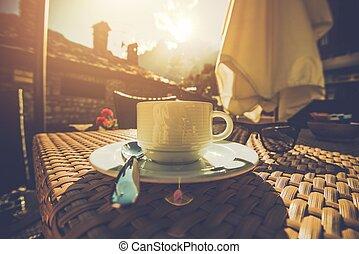 copo, de, saboroso, café