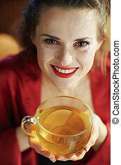 copo, mulher, ensolarado, quarto chá, modernos, dia, verde, ...