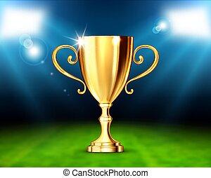 copo, vencedores, ilustração, realístico, vetorial, stadium.