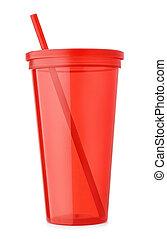 copo, vermelho, plástico, reutilizável