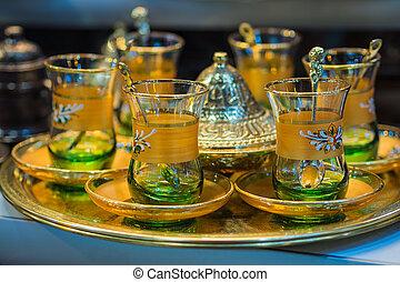 copos, chá, bazar, (turkey)., istambul
