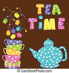 copos, chaleira chá, empilhado, tempo