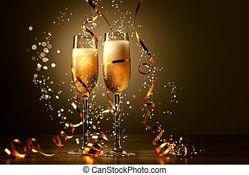 copos champanha, em, ano novo, partido