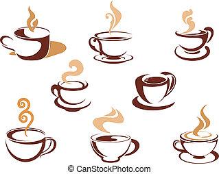 copos, com, perfumado, café