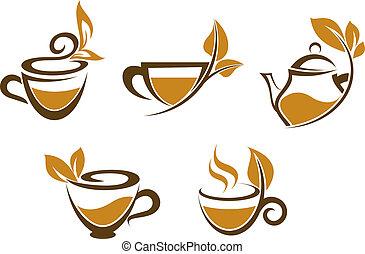 copos, de, chá, com, folhas