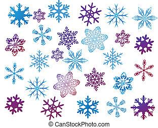 copos de nieve, blanco