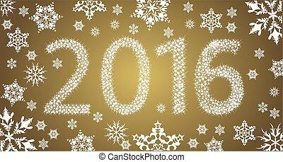 copos de nieve, estrellas, año, nuevo, blanco, 2016, feliz