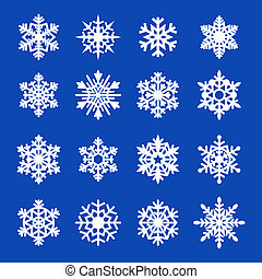 copos de nieve, icono, collection., vector