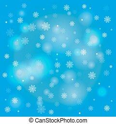 copos de nieve, y, borroso, luces, en, fondo azul