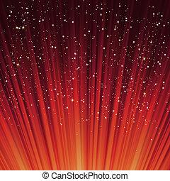copos de nieve, y, estrellas, en, un, trayectoria, de, rojo,...