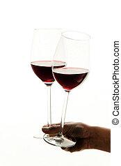 copos de vinho, com, vinho, para, vinho tinto, provando