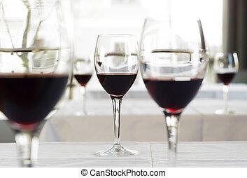 copos de vinho, ligado, tabela