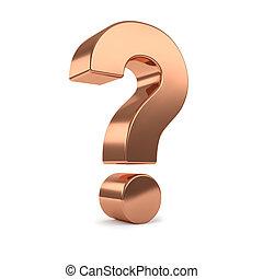 copper 3d question mark - Copper 3d question mark, isolated...
