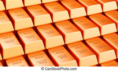 Copper bars background, animation. 3D rendering