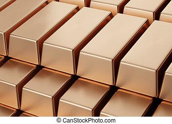 copper bars in bank vault. 3d illustration