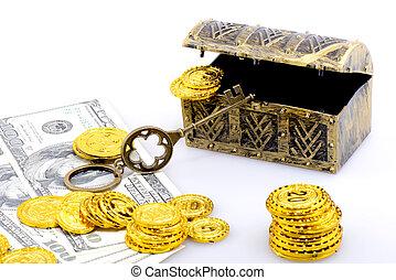 Copper box with money