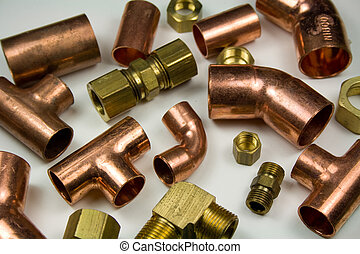 Assortment of copper and brass plumbing fittings
