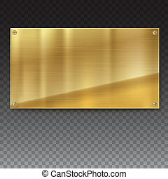 Copper, bronze brushed metal plate banners on white background Stainless steel background for ad, posters and cover art, 3D illustration.