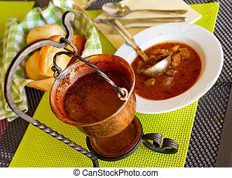 Copper cauldron with Slovenian Bograc