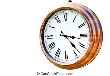 Copper clock on white background