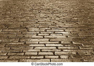 copper cobbles - background of a copper toned cobbled street