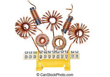 Copper coils and wires, abstract energy industry