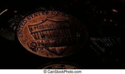 Copper coin is eagle up. Close up - Coin of one cent,...