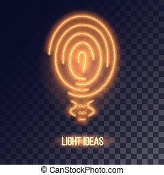 Copper colored neon bulb icon