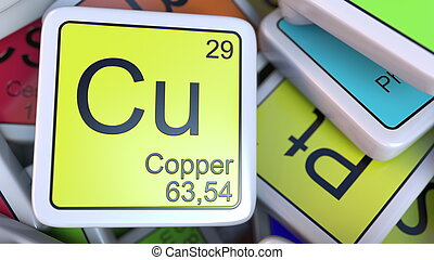 Copper Cu block on the pile of periodic table of the...