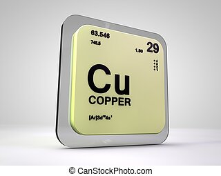 Copper - Cu - chemical element periodic table 3d render