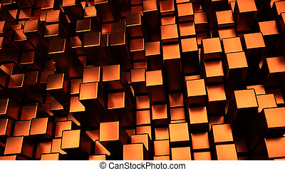 copper displaced cubes background 3d illustration
