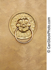 copper door and lion handle