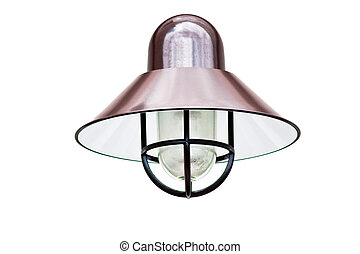 A copper exterior light fixture isolated on white