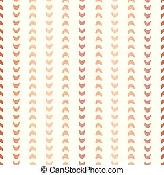 Copper foil half moon shapes seamless vector pattern. Rose Golden crescents in vertical lines on white background. Elegant design for New year, banner, wedding, party invitation, birthday celebration
