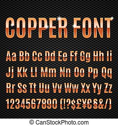 Copper font - Copper alphabet letters numbers and signs...
