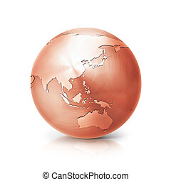 copper globe 3D illustration asia and australia map