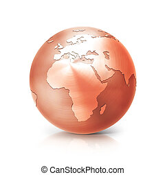copper globe 3D illustration europe and africa map