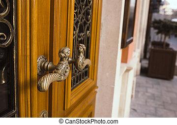 Copper handle on a brown door in Lviv