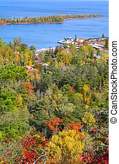 copper harbor northern tip of michigan autumn time