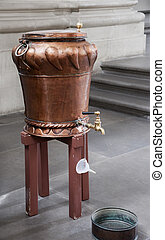 copper holy water basin