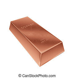 copper ingot isolated on a white background, 3D rendering, illustration