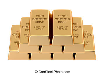 copper ingots, 3D rendering isolated on white background