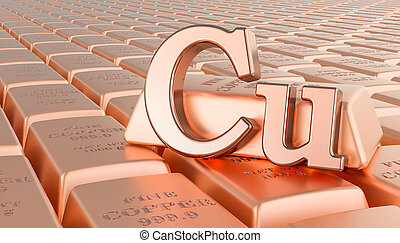 Copper ingots background with Cu symbol. 3D rendering